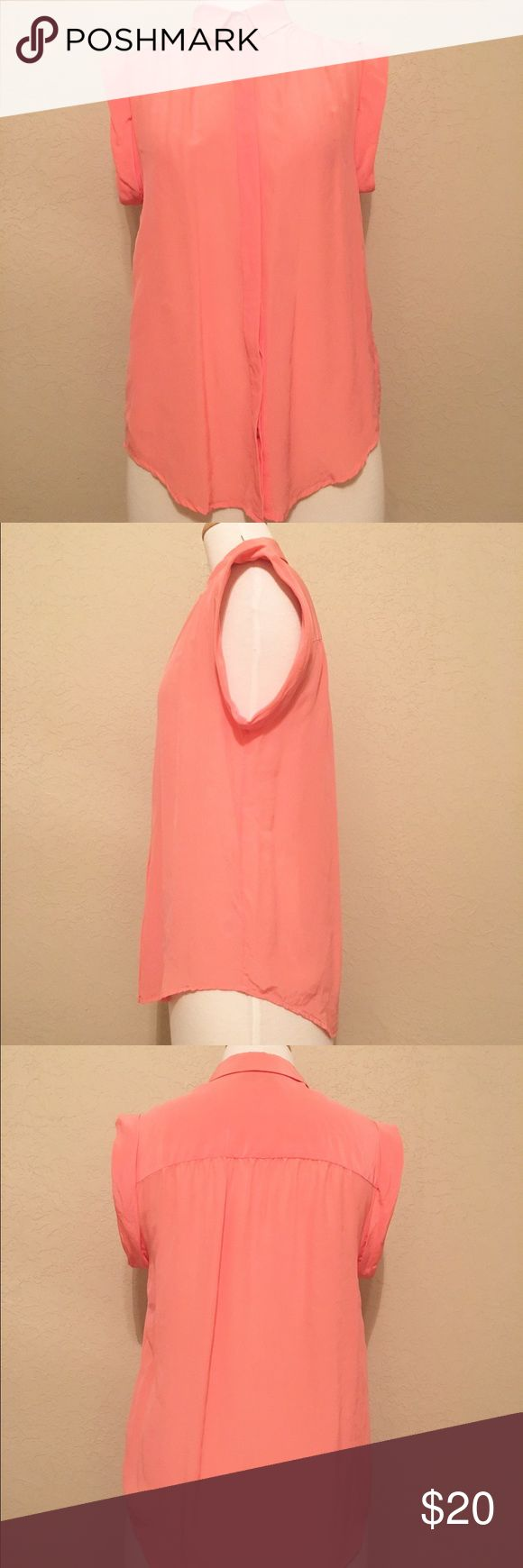 Madewell Small Coral Sheer Silk Blouse Beautiful spring blouse! Super cute with white cropped pants! Madewell Tops Blouses