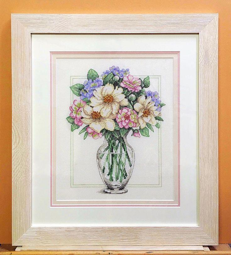 """Красивое оформление вышивки """"Цветы в высокой вазе"""" Dimensions custom framing"""