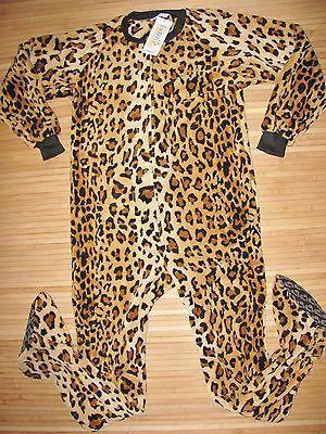 FOOTED PAJAMAS Sleep ONESIE Adult MEDIUM Poly PLUSH FLEECE Leopard Cheetah NWT