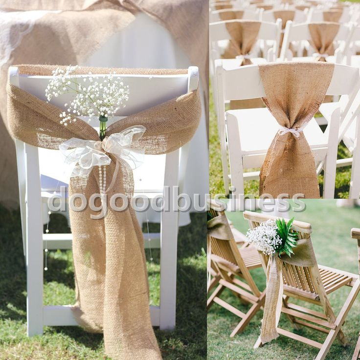 17cm x 275cm Naturally Vintage Burlap Chair Sashes Jute Chair Tie Bow for Rustic Wedding Decorations