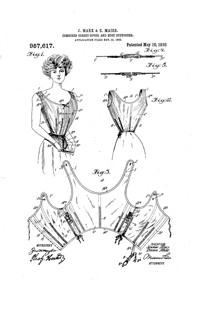 1910 Corset-cover and Breast-supporter  US Patent 957,617--underpinnings very important in costuming