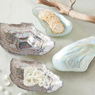 17 Beach Style Dinnerware - Iridescent clam and oyster shell dishes l Beach Cottage - Beach Home l www.CarolinaDesigns.com