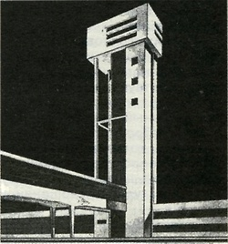 M. Siniaver, B. Pomleev, and I. Golombek, design for a textile factory, 1929 (perspective, fragment).