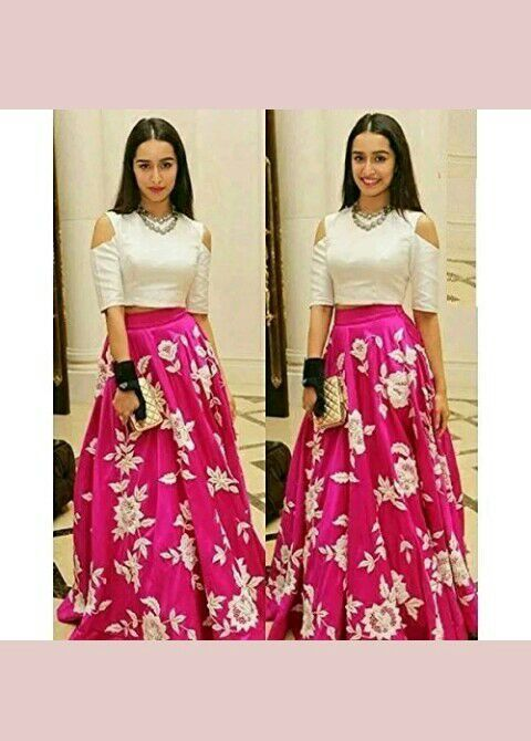 Want a flared high waisted skirt with a cold shoulder crop top as Shraddha Kapoor is wearing