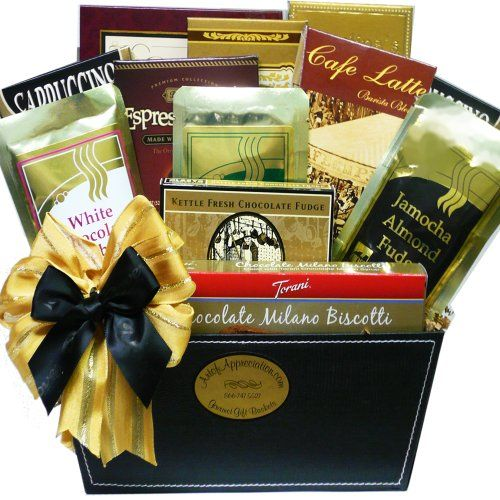 Coffee Gift Baskets - Art of Appreciation Gift Baskets Coffee Caddy with Treats. Send your best wishes with this handsome coffee gift package featuring an assortment of premium coffees paired with gourmet go-togethers to enjoy.