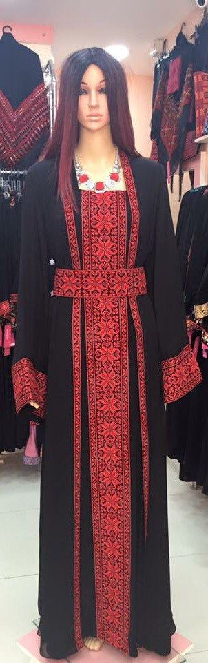 Black dress / Kaftan / Abaya / Tobe / Thobe with Red Palestinian Cross Stitch / Embroidery by PalestinianStitches on Etsy https://www.etsy.com/listing/271458971/black-dress-kaftan-abaya-tobe-thobe-with