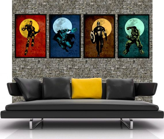 The Avengers 4x 16x24- Original super hero minimalist art movie poster prints - Retro marvel illustration print poster.