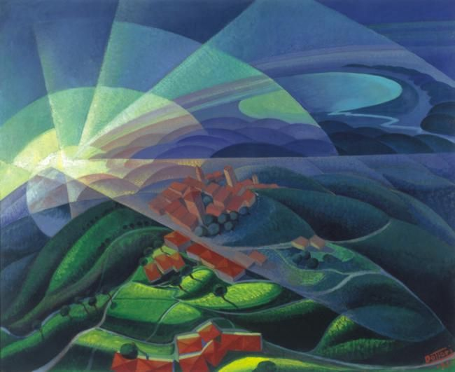 Explosion of Red on Green - Gerardo Dottori - WikiPaintings.org