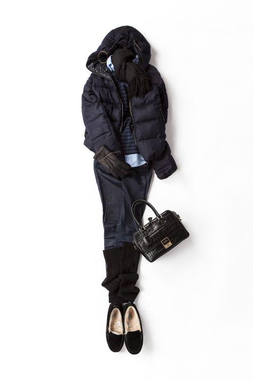 многослойность. рубашка, топ-легкий свитерок,куртка , джинсы, гетры, и смешная обувь на меху ;)