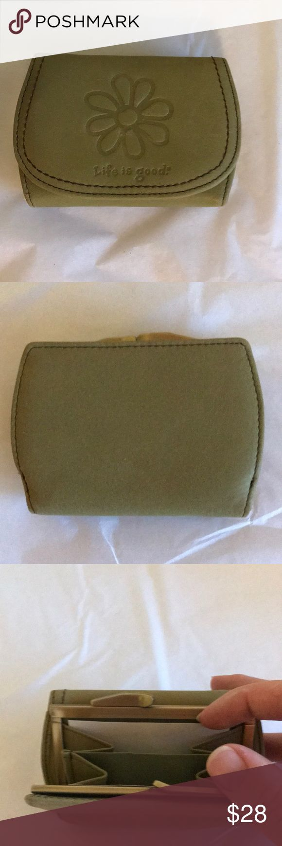 Life is Good Green Wallet Tri fold wallet. Life is Good. NWOT. Light green color. Received as a gift and never used. Change purse, bills, and cards sections. Does NOT come with box, bag, or tag. Life Is Good Bags Wallets