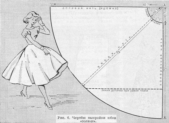 Юбка «солнце» (рис.6).Юбка «солнце» в 2 раза шире юбки «полусолнце». Расчёт производят на 1/4 часть юбки «солнце». Снятие мерок и раскрой ткани производится так же, как для юбки «полусолнце» (рис. 5). Разница только в построении линии талии.