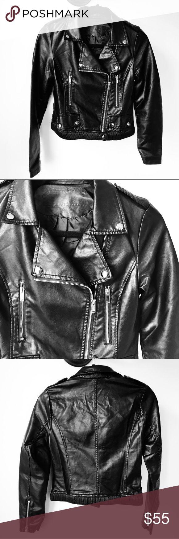 """New Black Faux Leather Moto Jacket New Black Faux Leather Moto Jacket. Length: 19"""" / Bust 33"""" / Sleeve: 23"""". No trades Jackets & Coats Utility Jackets"""