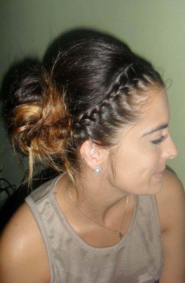Peinado con trenzas cocidas peinados pinterest - Peinado con trenza ...