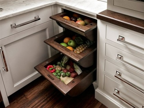 Kitchen design. Fruit and produce under counter storage. Contemporary in dark wood.: Cabinets, Vegetables Drawers, Kitchens Ideas, Kitchens Drawers, Fruits And Vegetables, House, Veggies, Kitchens Storage, Fruit And Vegetables