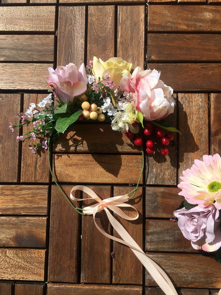 Roses, peony and pip berry floral crown