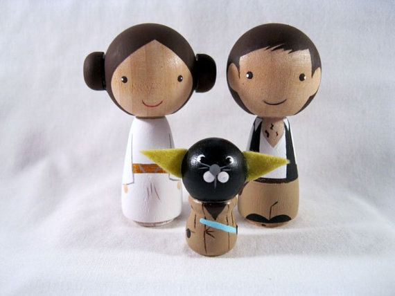 Kokeshi Princess Leia Han Solo Yoda Cat Peg Doll by knottingwood, $55.00