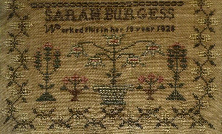 Bottom detail - Early 19th Century Bird Floral Motif Sampler by Sarah Burgess Aged 10 1828 | eBay