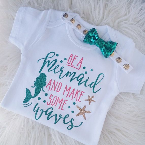 Be A Mermaid, Little Mermaid outfit, EMERALD // CORAL // GOLD // Baby girl, Seashell onesie, Mermaid shirt, I'm a mermaid, Toddler shirt