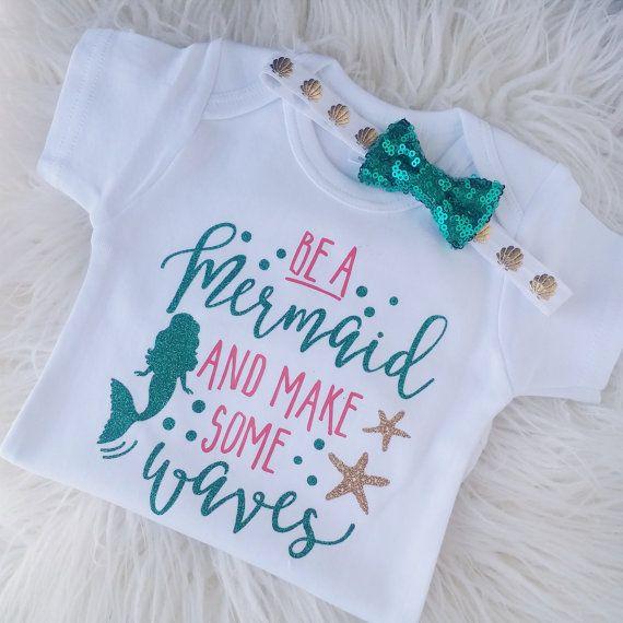 Be A Mermaid, Little Mermaid outfit, EMERALD // CORAL // GOLD // Baby girl, Seashell onesie, Mermaid shirt, I'm a mermaid, Toddler shirt