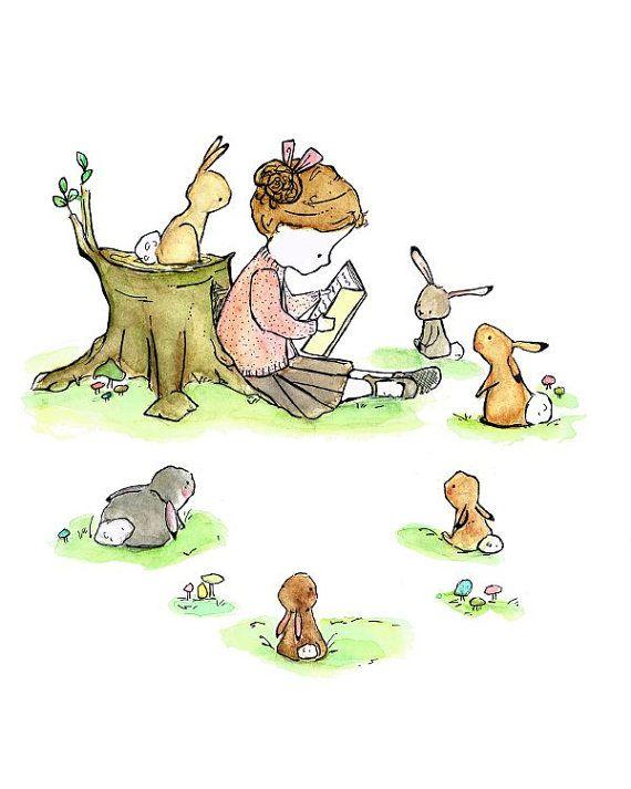 Story Girl by Kit Chase, trafalgarssquare #Illustration #Childrens_Art #Story_Girl