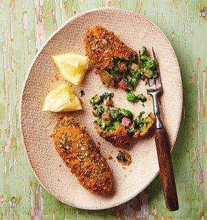 Yotam Ottolenghi's spinach, pea and pancetta croquettes.