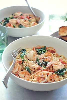 Shrimp Pasta with Tomatoes, Lemon and Spinach. . I'd pair with whole