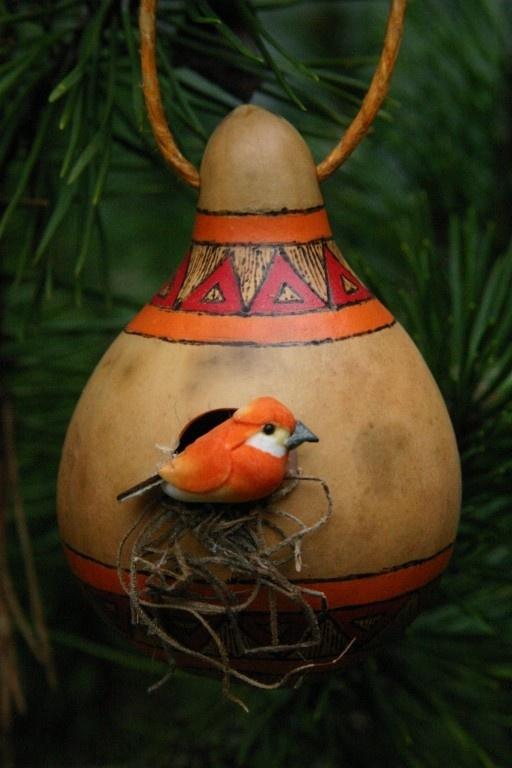 Gourd birdhouse ornament!