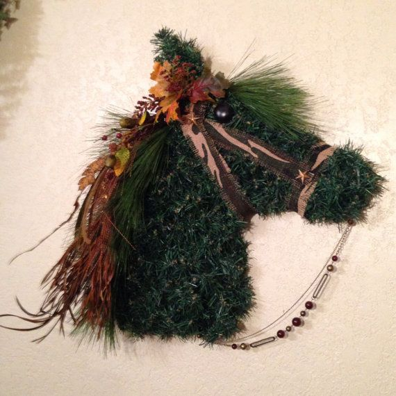 Horse head wreath horsehead wreaths horse by GarnishAndGlitz