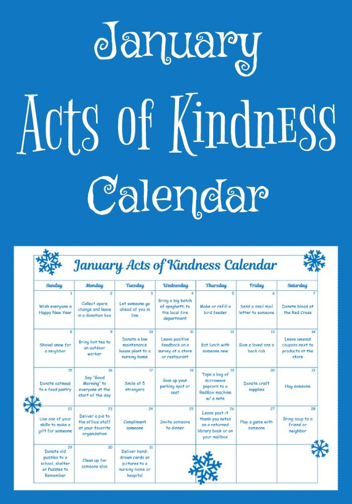 Get the year off to a joyous start with this January Acts of Kindness Calendar. Many of the kindness acts are tied to the month's theme and unique January holidays.