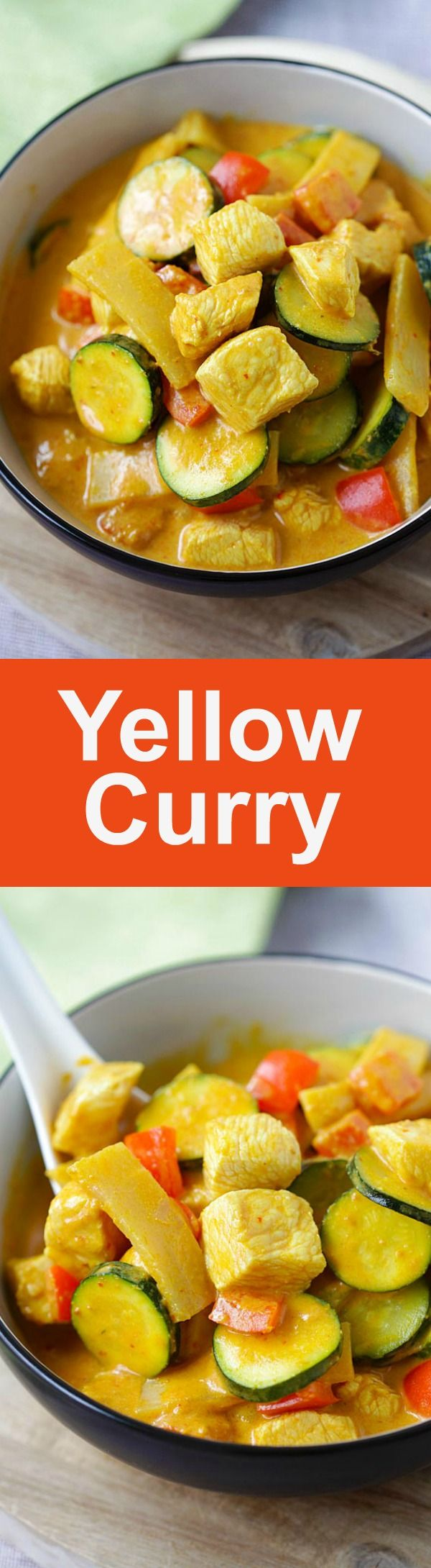 Thai Yellow Curry – creamy yellow curry recipe loaded with chicken, zucchini and bell peppers. So easy and much better than takeouts   rasamalaysia.com