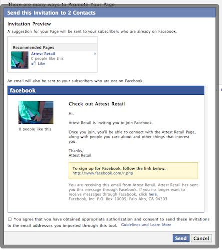 """Invite Email Contacts to Like your Facebook Page with """"Tell your ..."""