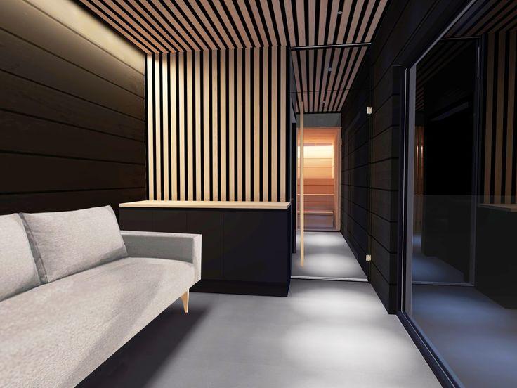 esittelyssä talo markin modernin saunarakennuksen tumma sisustus