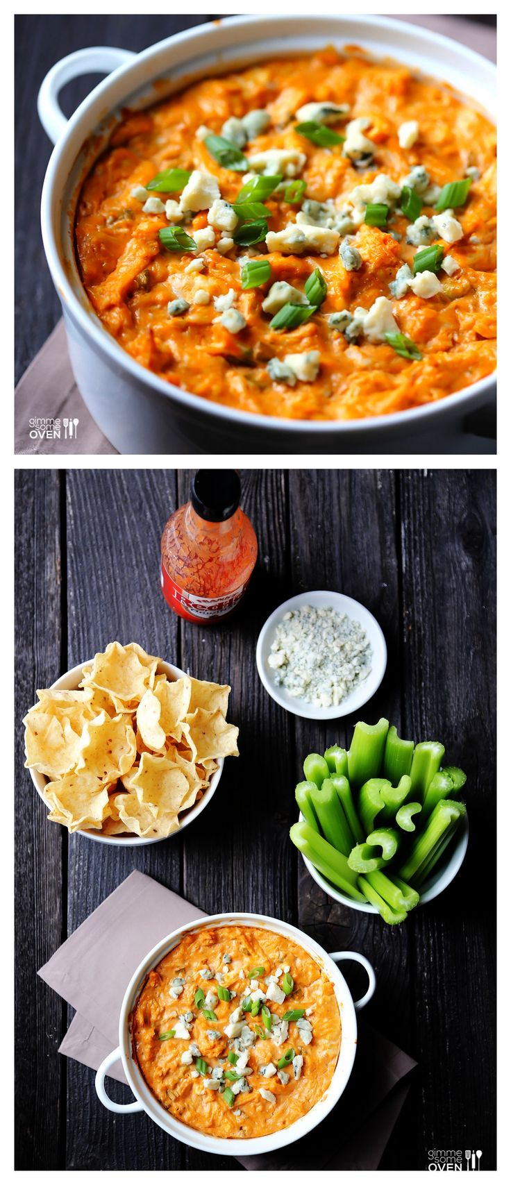 Skinny Buffalo Chicken Dip -- the fabulous dip you love, without all of the usual calories! | gimmesomeoven.com #appetizer #dip #recipe