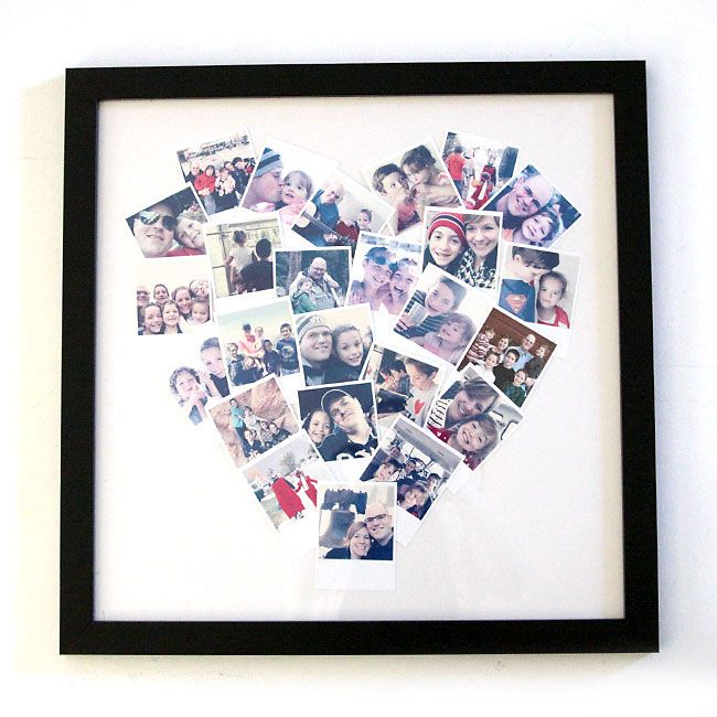 learn how to make this easy DIY heart photo collage, perfect for display phone photos, instagram photos, and polaroids. great handmade gift.