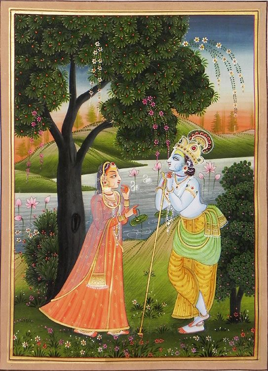 Krishna Spellbound by Radha's Beauty - Miniature Painting from Rajasthan, India