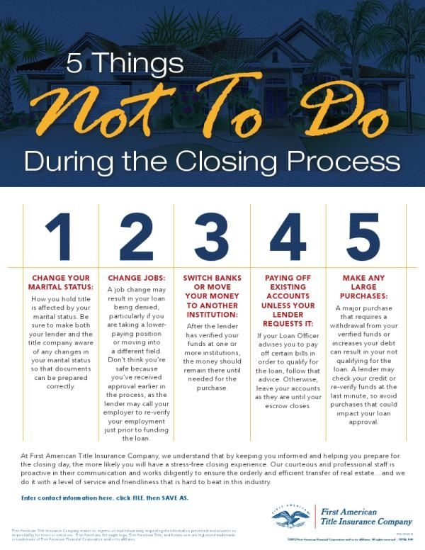 5 things Not to Do during the closing process #realestate #realtor