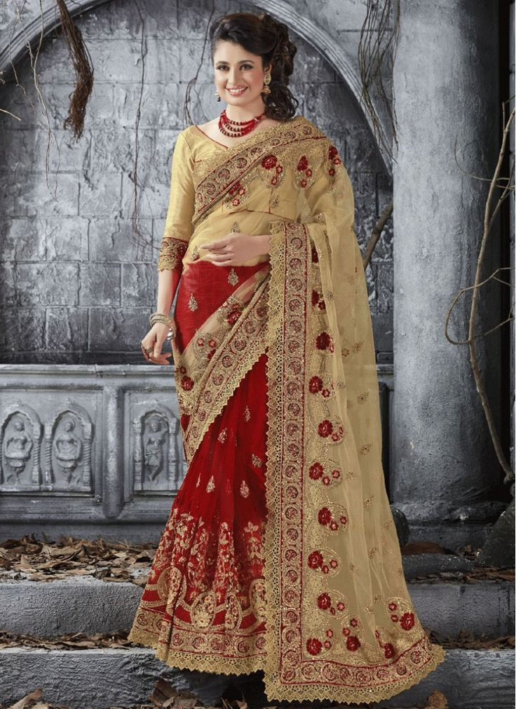 Bridal Red and Beige Soft Net Indian Traditional Saree