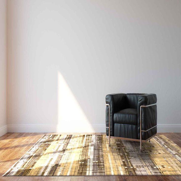 Mad Men Sky Scraper 8415 Office Gold Designer Luxury Rug by Louis De Poortere