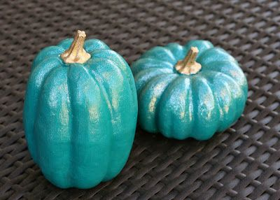 Our Home // Fall Mantel   Teal Pumpkins via bliss bloom blog