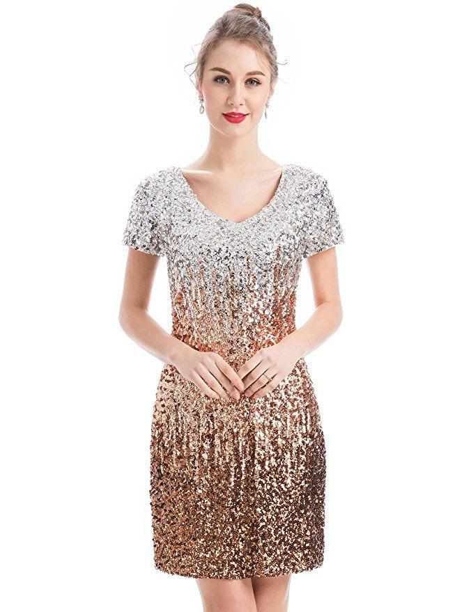 MANER Women s Sequin Glitter Short Sleeve Dress Sexy V Neck Mini Party Club Bodycon  Gowns 8cb03e870035