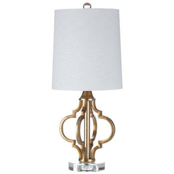 Gold Quatrefoil Metal Lamp With White Shade