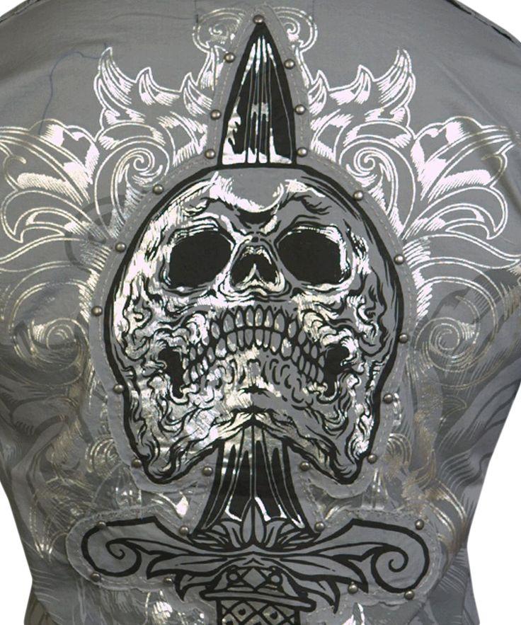 Pánská košile Rebel Spirit lebka s dýkou (šedá).