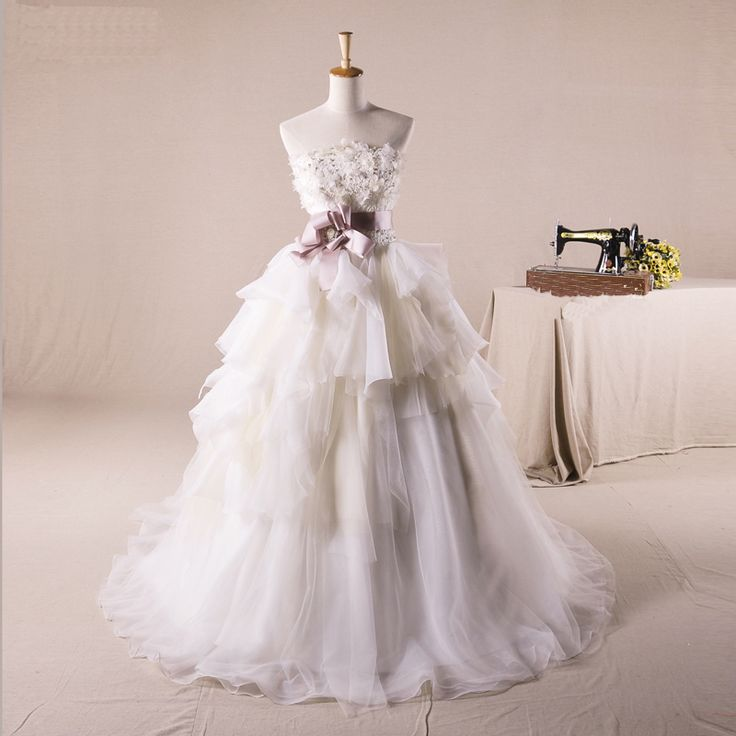 Strapless Ball Gown Tulle wedding dress but oh my
