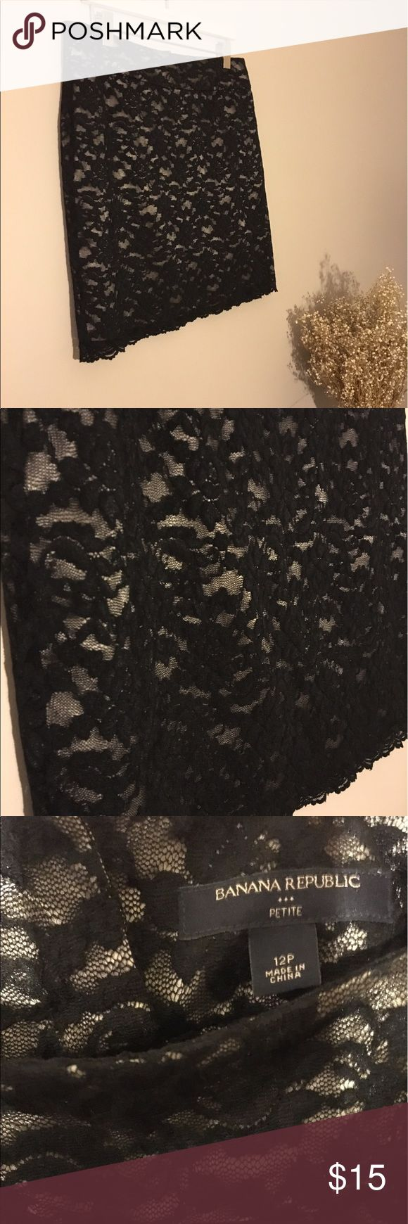 Banana Republic Black Lace Pencil Skirt This pencil skirt fits flatteringly at the waist. It has a satin finish beige underlay with a black lace overlay. Worn fewer than five times and in perfect condition. Banana Republic Skirts Pencil