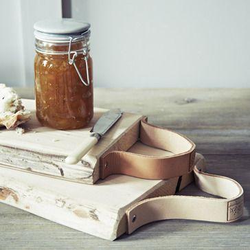 Leather Strap Bread Board.