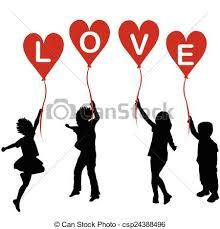 Image result for silhouettes of children with balloons