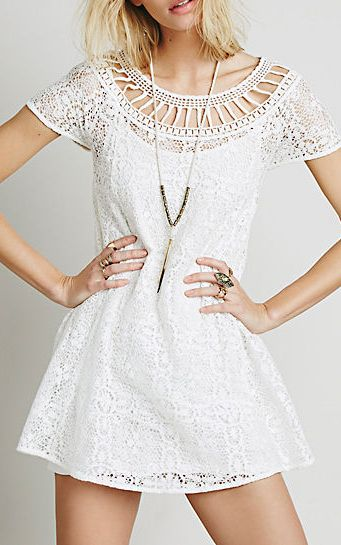 White Short Sleeve Hollow Lace Dress 17.00