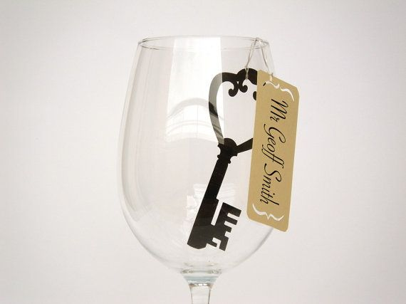 Perfect for Parties. 20 Place Cards Key to my Heart Wine Glass Decor by MamaTita