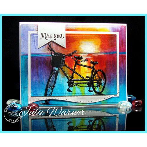 Serendipity Stamps Tandem Bicycle Cling Set and Miss You ($1 Stamp!)