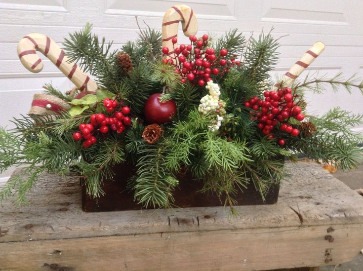 Rustic Christmas Centerpiece- Candy Cane Christmas Arrangement- Christmas Table Decor- Holiday Arrangement-FlowerPowerOhio by FlowerPowerOhio on Etsy